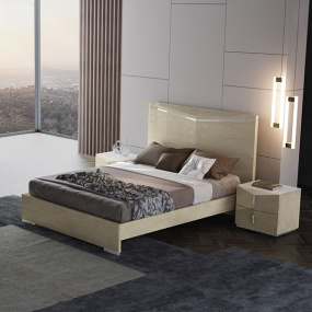 Panama High Glass Light Walnut Kingsize Bed Frame