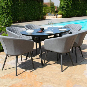 Maze Rattan Ibiza Flanelle 6 Seat Oval Garden Dining Set | Housing Units