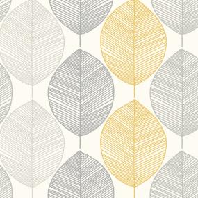 Arthouse Scandi Leaf Yellow Wallpaper