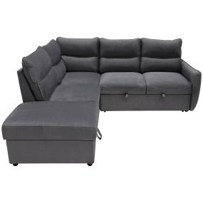 Harbour Grey Fabric Corner Sofa With Ottoman