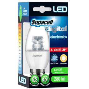Supacell ES E27 3W Candle LED Clear Light Bulb