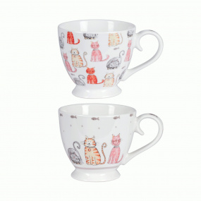Rose Blush Set of 2 Cat Cappuccino Mugs