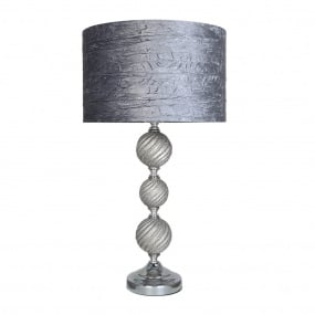 Tzarina Silver Table Lamp with Grey Velvet Shade