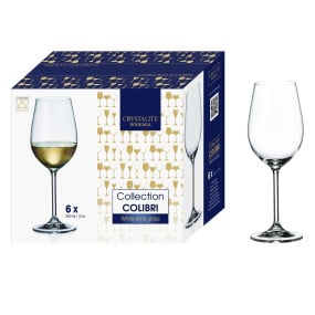 Bohemia Colibri Set of 6 Fine Rim Crystal White Wine Glasses