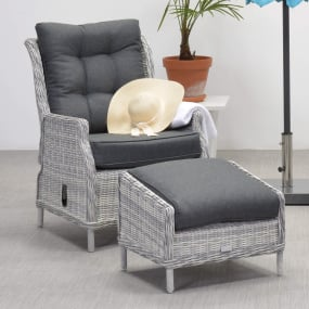 Cordoba Rattan Garden Recliner Chair & Footstool - Lifestyle | Housing Units