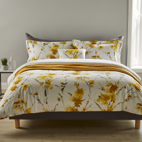 Christy Ink Flower Ochre Kingsize Duvet Set