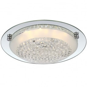 Froo Flush Clear Crystal Chrome LED Ceiling Light