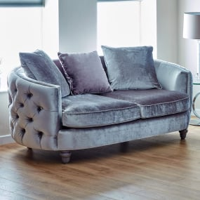 Arabella Grey Velvet Upholstered Pillow-Back 2 Seater Sofa - Lifestyle | Housing Units
