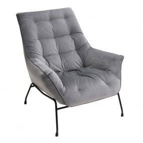 Thiago Grey Velvet Accent Chair