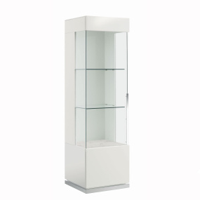 Torino White High Gloss Left Hand Single Door Display Cabinet