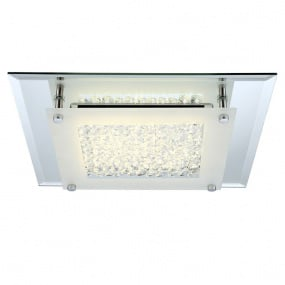 Liana Satin Chrome & Crystal Flush Ceiling Light