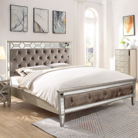 Rebecca Mirrored Double Bed Frame - Lifestyle | Housing Units