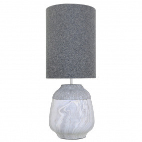 Marble Medium Table Lamp and Grey Shade