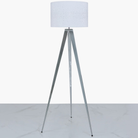 Chrome Tripod Floor Lamp with White Velvet Sparkle Shade