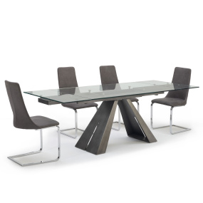 Globe Pewter Glass Top Extending Dining Table & 4 Grey Micro-Fibre Fabric Upholstered Cantilever Chairs