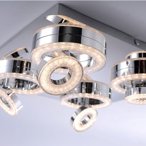 Tim Lola Colour Change LED Four Flush Ceiling Light