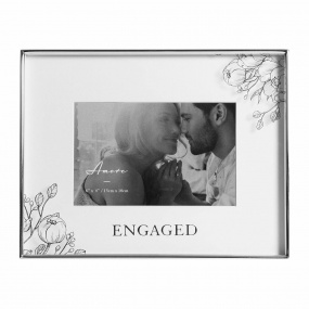 "Engaged Silver Floral Detail Frame 6"" x 4"""