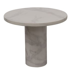 Savona Bone White Circular Marble Effect Lamp Table