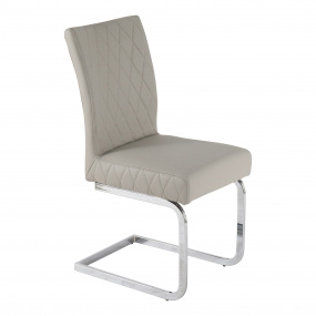 Carlo Light Grey Quilted PU Dining Chair with Chrome Legs - Angled