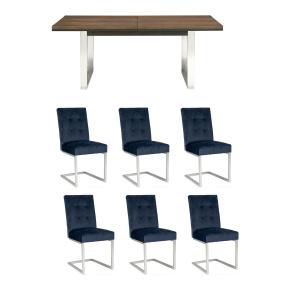 Teramo 6-10 Seat Extending Dining Table & 6 Dark Blue Chairs