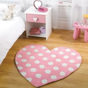 Polka Dot Heart Pastel Pink Rug