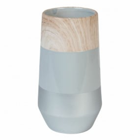 Small Grey and Wood Effect Ceramic Vase