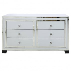 Dash White Mirrored 6 Drawer Wide Chest of Drawers