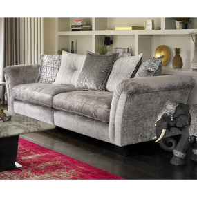 Juliana Grey Fabric Pillowback 4 Seater Split Sofa - Lifestyle