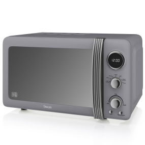 Swan Retro Grey 800W Digital Microwave