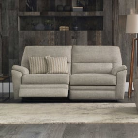 Parker Knoll Hampton Large Beige Fabric 2 Seater Electric Recliner Sofa - Reclined