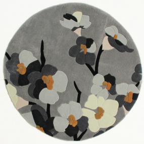 Infinite Blossom Grey and Ochre 135cm Circle Rug