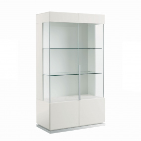 Torino White High Gloss 2 Door Display Cabinet
