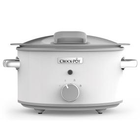 Crockpot 4.5 Litre Hinged Lid White Saute Slow Cooker