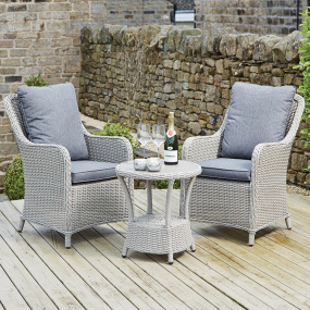 Luxor Stone Grey Rattan Bistro Garden Set - Lifestyle | Housing Units