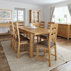 Dublin Compact Extending Dining Table & 6 Dublin Slatted Chairs