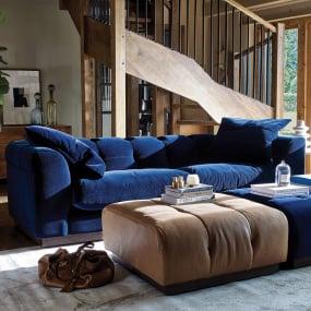 Editor Indigo Velvet 4 Seater Sofa - Lifestyle | Housing Units