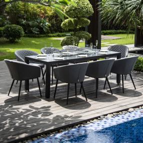 Maze Rattan Ibiza 8 Seater Fabric Garden Dining Set With Fire Pit - Angled