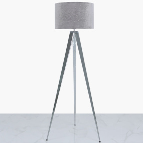 Chrome Tripod Floor Lamp with Grey Velvet Sparkle Shade