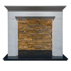 Saronna Limestone Fire Surround with Multi Coloured Stone Chamber