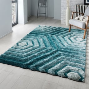 Verge Hexagon Duck Egg 120cm x 170cm Rug