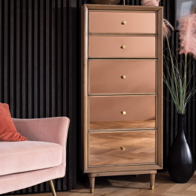 Francesca Reclaimed Wood Rose Gold Mirrored 5 Drawer Tall Chest - Lifestyle | Housing Units