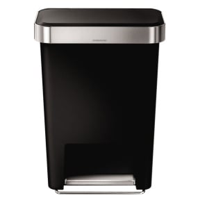 Simplehuman 45 Litre Black Rectangular Pedal Bin with Liner Pocket