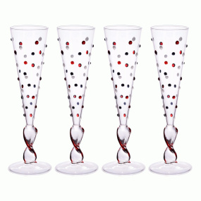 Murano Set of 4 Circus Champagne Flutes