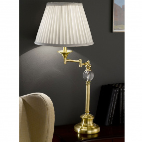 SwingArm Polished Brass Table Lamp with Cream Shade
