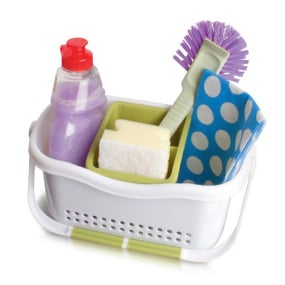 Addis Soft Touch White and Green Sink Caddy