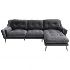 Santiago Grey Velvet RHF Corner Sofa
