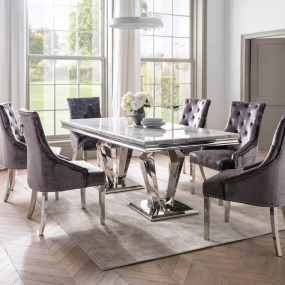 Paradox 180cm Grey Marble Dining Table & 6 Parker Charcoal Dining Chairs   Housing Units