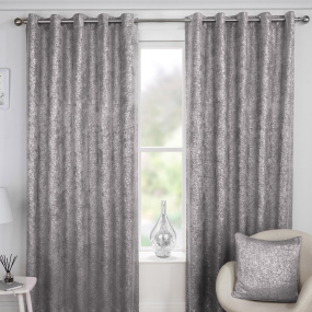 Halo Grey 66x72 Eyelet Curtains