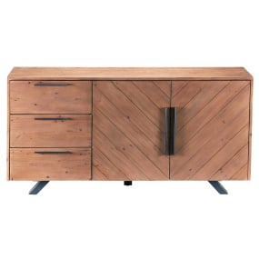 Vitra Reclaimed Teak Wide 2 Door 3 Drawer Sideboard - Front | Housing Units