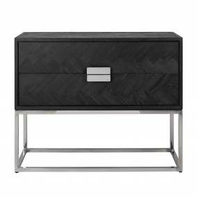 Remington Black Oak and Silver 2 Drawer Chest   Bedrooms - Housing Units